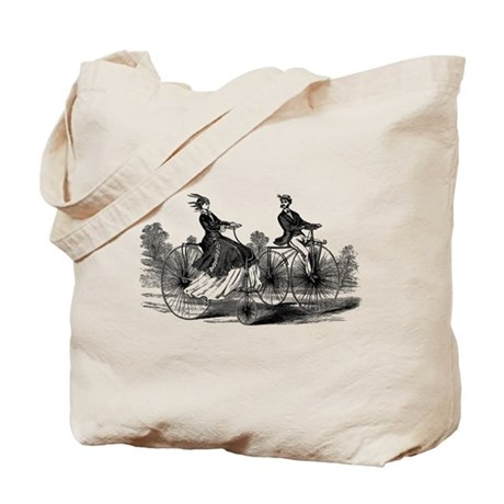 Old Fashioned Big Bicycle Couple Tote Bag