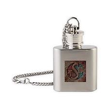 """Stylized Yin Yang"" Flask Necklace ~ Fire & Ice"