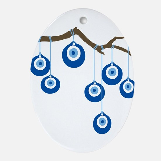 Blue Eye Amulets On Branch Ornament (Oval)