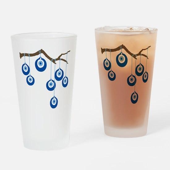 Blue Eye Amulets On Branch Drinking Glass