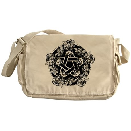Pentacle With Roses Messenger Bag