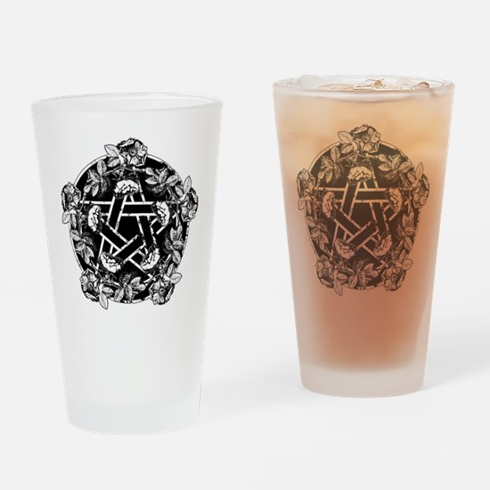Pentacle With Roses Drinking Glass