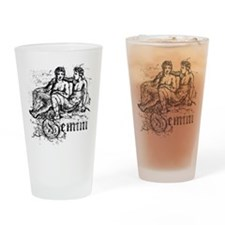 Worn Zodiac Gemini Drinking Glass