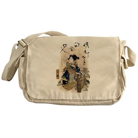 Vintage Japanese Art Woman Messenger Bag