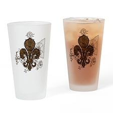 Clockwork Fleur De Lis Drinking Glass
