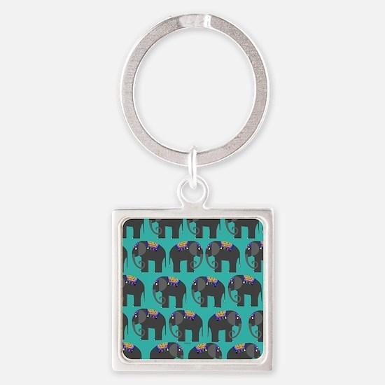 Indian Elephant Square Keychain