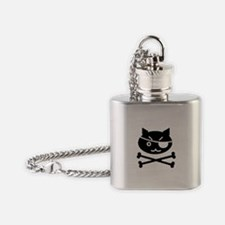 PIRATE CAT (BLK) Flask Necklace