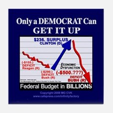 Democrat Get It Up Tile Coaster
