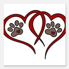 "Puppy Love Square Car Magnet 3"" x 3"""