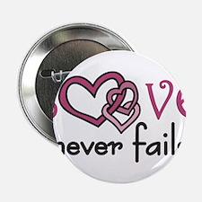 "Love Never Fails 2.25"" Button"