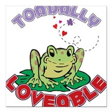 "Toadally Loveable Square Car Magnet 3"" x 3"""