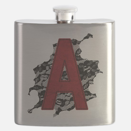 Black Lace Scarlet Letter A Flask