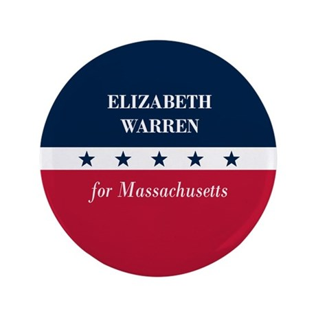 """Warren for Massachusetts 3.5"""" Button"""