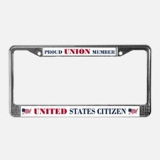 Proud Union Member US Citizen License Plate Frame