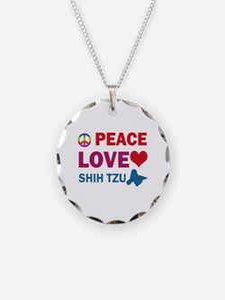 Peace Love Shih Tzu Necklace