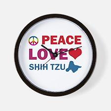 Peace Love Shih Tzu Wall Clock