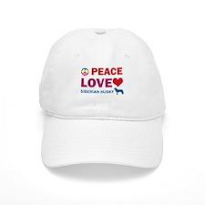 Peace Love Siberian Husky Baseball Baseball Cap