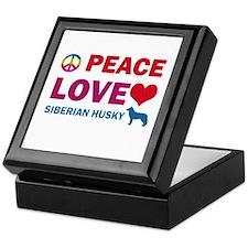Peace Love Siberian Husky Keepsake Box