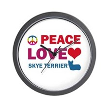 Peace Love Skye Terrier Wall Clock