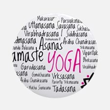 Namaste Yoga Asanas Poses Ornament (Round)