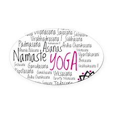 Namaste Yoga Asanas Poses Oval Car Magnet
