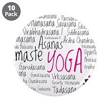 """Namaste Yoga Asanas Poses 3.5"""" Button (10 pack)"""