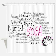Namaste Yoga Asanas Poses Shower Curtain