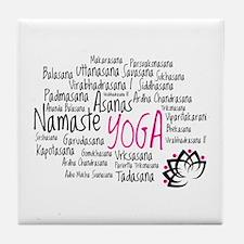 Namaste Yoga Asanas Poses Tile Coaster