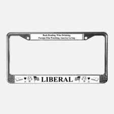 Book Wine Film USA Liberal License Plate Frame