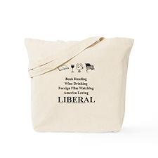 Book Wine Film USA Liberal Tote Bag