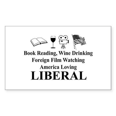 Book Wine Film USA Liberal Sticker (Rectangle)