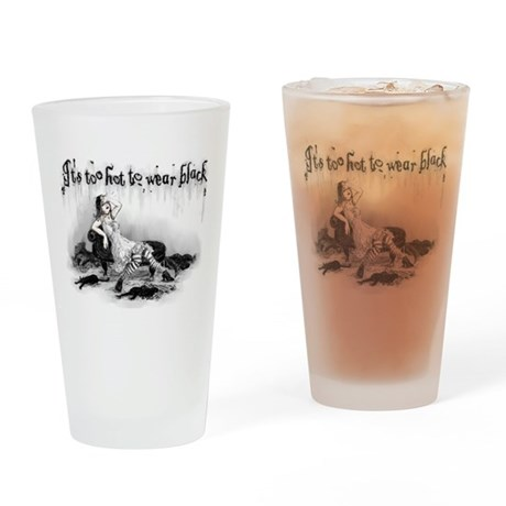 it s too hot to wear black drinking glass by opheliasart