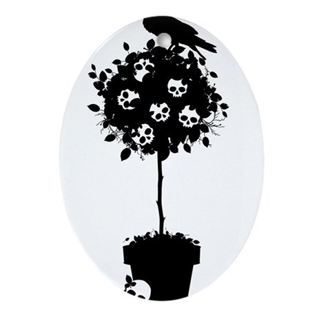 Evil Skull Topiary Ornament (Oval)