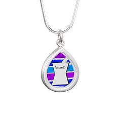 pharmd pattern blue.PNG Silver Teardrop Necklace