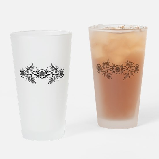 Black And White Flowers Motif Drinking Glass