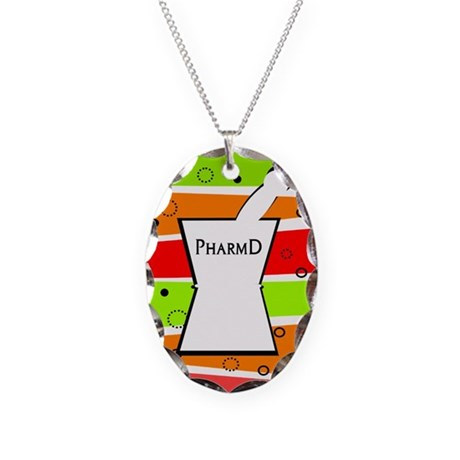 pharmD pattern.PNG Necklace Oval Charm