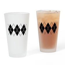 Gothic Skull Argyle Drinking Glass