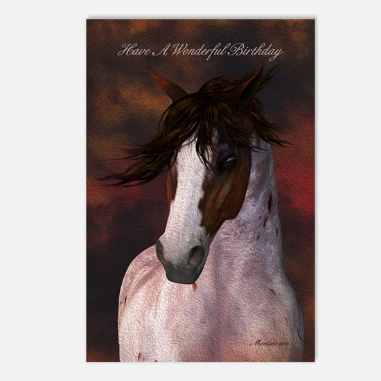 Equine Birthday Greeting Card Brown & White Ho