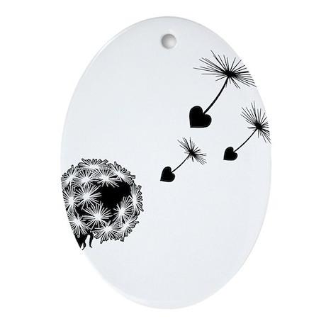 Dandelion Heart Seeds Ornament (Oval)