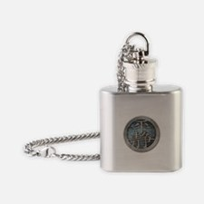"""Chinese Insignia"" Flask Necklace ~ steel/blue"