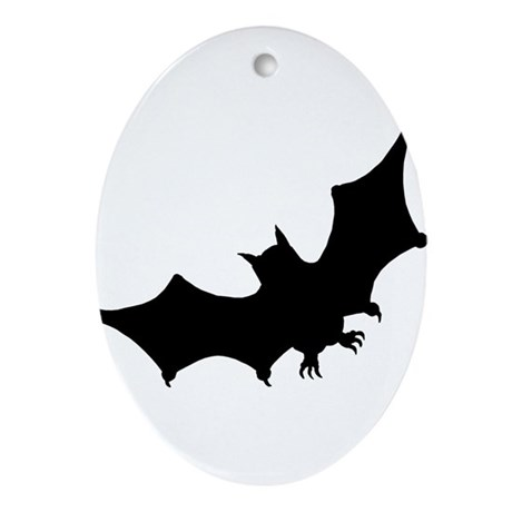Bat Silhouette Ornament (Oval)