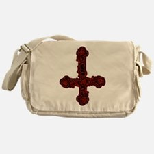 Inverted Cross And Red Roses Messenger Bag