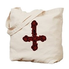 Inverted Cross And Red Roses Tote Bag