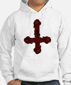 Inverted Cross And Red Roses Hoodie