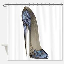 Blue Floral Stiletto Shoe Art Shower Curtain