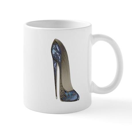 Blue Floral Stiletto Shoe Art Mug