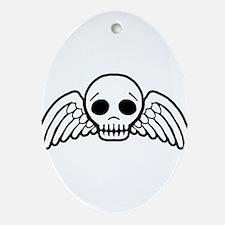 Cute Winged Skull Ornament (Oval)