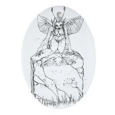 Gothic Fairy On Gravestone Ornament (Oval)