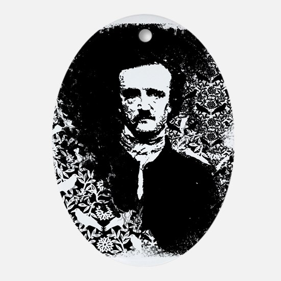 Poe On Raven Pattern Ornament (Oval)