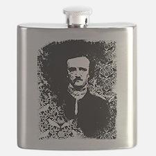 Poe On Raven Pattern Flask